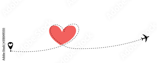 Fototapeta Airplane flying. Dash line heart loop in the sky. Air plane icon. Black silhouette shape. Travel trace. Happy Valentines Day Love romantic card. Flat design. Vector isolated on white background  obraz