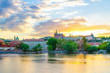 Prague Historical City Center. Prague Castle, St. Vitus Cathedral In Hradcany District, Mala Strana Lesser Town, Vltava River, Blue Sky White Clouds In Evening Sunset View, Bohemia, Czech Republic