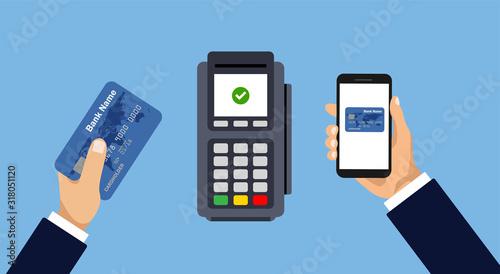 Obraz na płótnie Vector pos terminal confirms the payment by smartphone or card