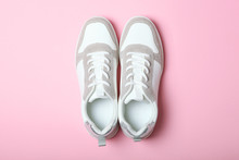 Women's Sneakers On A Colored ...