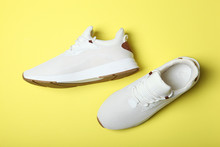 Men's Sneakers On A Colored Ba...