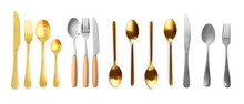 Set Of Different Cutlery On Wh...