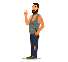 A Sullen Loafer Stands Smoking A Cigarette And Drinking Beer. Flat Character Design For A Person Who Has