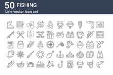 Set Of 50 Fishing Icons. Outli...