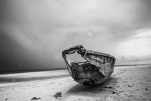 An Abandoned Boat On Ilashe Beach In Lagos Nigeria