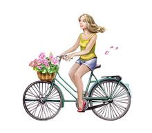 Beautiful Girl Riding A Bicycle