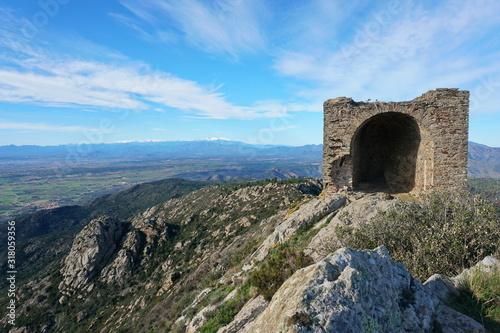 Landscape from the top of Sant Salvador Saverdera mountain with the ruins of castle de Verdera, Spain, Catalonia, Alt Emporda, Girona province #318059356