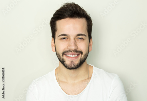 Obraz Handsome smiling man with white teeth - fototapety do salonu