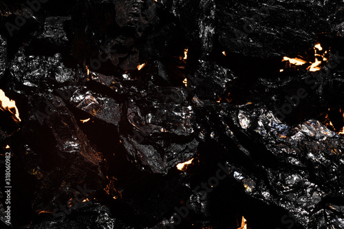 Fototapety, obrazy: Black charcoal texture, red-hot natural mineral resource background