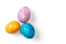 Different Easter Eggs On White Background