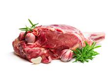 Fresh Raw Lamb Leg With Rosema...