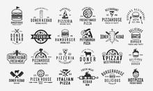 Burger, Doner Kebab And Pizza Logo Set. Set Of 24 Vintage Logo Templates For Fast Food Restaurant. Pizza, Burger And Kebab Silhouettes. Vintage Typography. Vector Food Labels, Emblems ,posters.