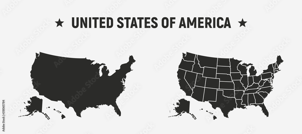 Fototapeta USA blank map and USA map with states.   Set of 2 USA maps. Poster maps of USA. United States of America map vector template.