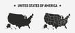 USA blank map and USA map with states.   Set of 2 USA maps. Poster maps of USA. United States of America map vector template.