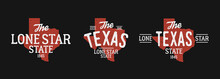 Texas Logo Map Set. Print For T-shirt, Typography. Texas Map With Stamp Effect.   Vector Illustration