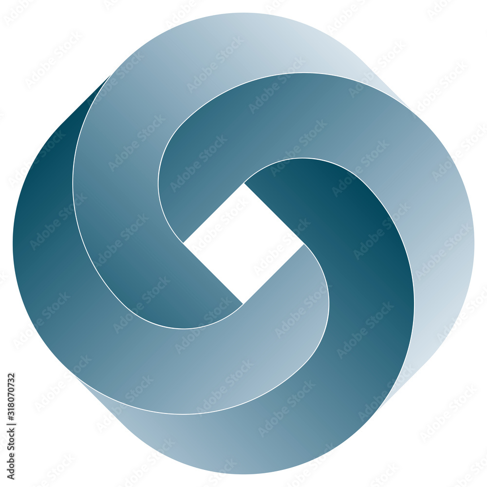Fototapeta Impossible rouded square icon. Vector optical illusion shape on white background.