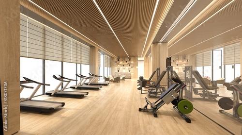 Obraz 3d render of fitness gym center - fototapety do salonu