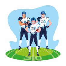 Team Of Players American Football , Sportsmen With Uniform On Stadium Grass