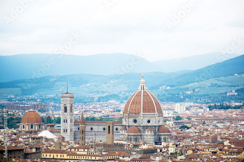 view of florence from top of basilica in italy
