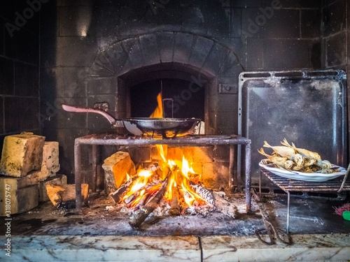 Atlantic horse mackerel Frying on a rustic fire pan - a Portuguese traditional f Slika na platnu