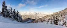 Whistler Ski Resort, British Columbia, Canada. Beautiful Panoramic View Of The Snowy Canadian Nature Landscape Mountain During A Vibrant And Sunny Winter Day.