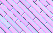 Abstract Gradient Pink Rectangle With Chamfered Edges Background; Pastel Color Diagonal Metro Tiles Structure 3d Rendering