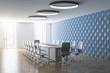 Leinwanddruck Bild - New meeting room with decorative blue wall