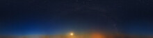 Dark Blue Sky After Sunset With Beautiful Awesome Sky With Moon And Milky Way. Seamless Hdri Panorama 360 Degrees Angle View With Zenith For Use In Graphics Or Game Development As Sky Dome
