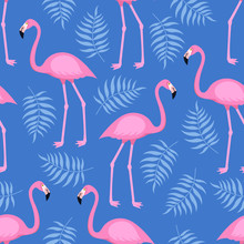 Seamless Trendy Tropical Pattern With Pink Flamingo Birds And Tropic Areca Leaves, Summer Background. Vector Illustration