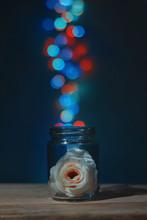 Rose In Jar Against Illuminated Defocused Lights On Table