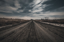 Long Exposure Of Dark Rural Dirt Road In The Midwest United States | Moody