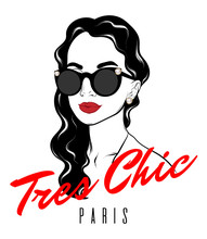 Tres Chic. Paris. Vector Hand Drawn Illustration Of Girl With Curly Hair Isolated. Template For Card, Poster, Banner, Print For T-shirt, Pin, Badge, Patch.