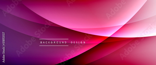 Obraz Wave liquid style lines with shadows and light on gradient background. Trendy simple fluid color gradient abstract background with dynamic straight shadow line effect - fototapety do salonu