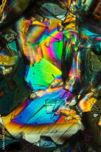 Photo Colorful abstract micrograph of phenylalanine, an amino acid.