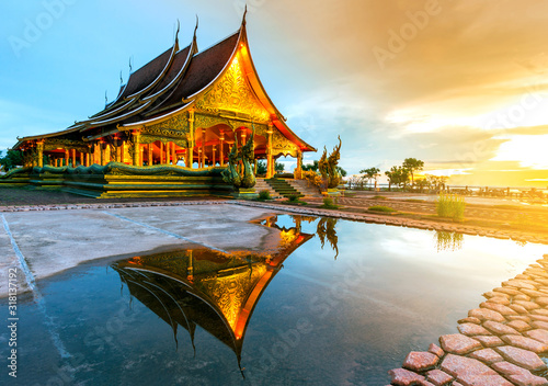 Amazing Temple Sirindhorn Wararam Phuproud in Ubon Ratchathani Province at twilight time,Thailand Wallpaper Mural