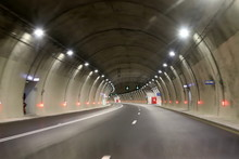 Car Tunnel In The Mountains In...