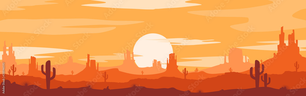 Fototapeta Vector illustration of sunset desert panoramic view with mountains and cactus in flat cartoon style.