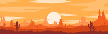 Vector Illustration Of Sunset Desert Panoramic View With Mountains And Cactus In Flat Cartoon Style.