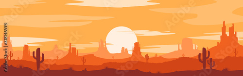 Fototapeta Vector illustration of sunset desert panoramic view with mountains and cactus in flat cartoon style. obraz