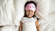 canvas print picture - Portrait of smiling Asian little girl wake up in bed