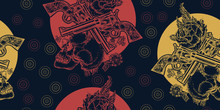 Skull, Crossed Guns And Roses ...