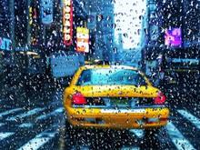City Street Seen Through Wet During Rainy Season