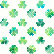 Watercolor Clover Leaves On Wh...
