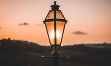 Old Street Lamp On Sunset Back...