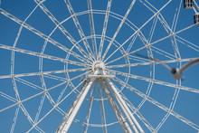 Full Frame Shot Of Ferris Wheel Against Clear Blue Sky