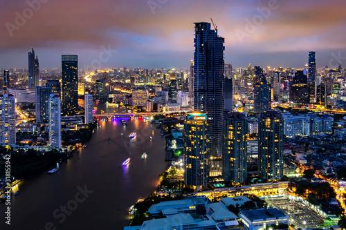 Fotografía Aerial view of Bangkok modern office buildings, condominium in Bangkok city