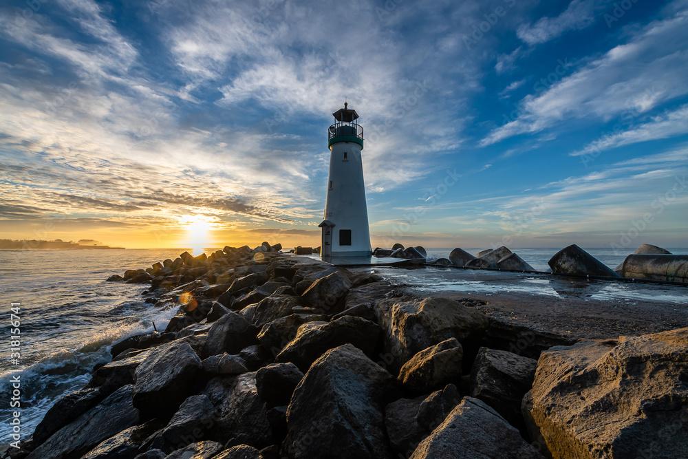 Fototapeta Breakwater Lighthouse at Sunrise