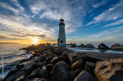 Breakwater Lighthouse at Sunrise Wallpaper Mural
