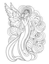 Angel Girl With Wings, Cross, ...