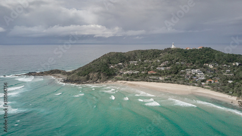 Fotografiet Air view of Byron Bay Lighthouse in moody weather